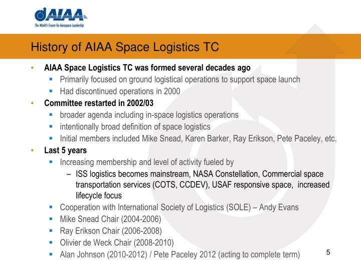 History of AIAA Space Logistics TC