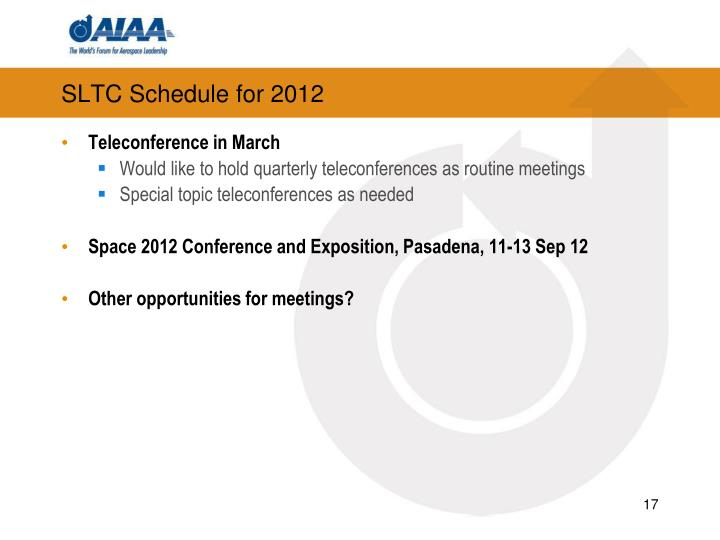 SLTC Schedule for 2012