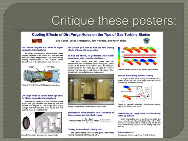 Critique these posters: