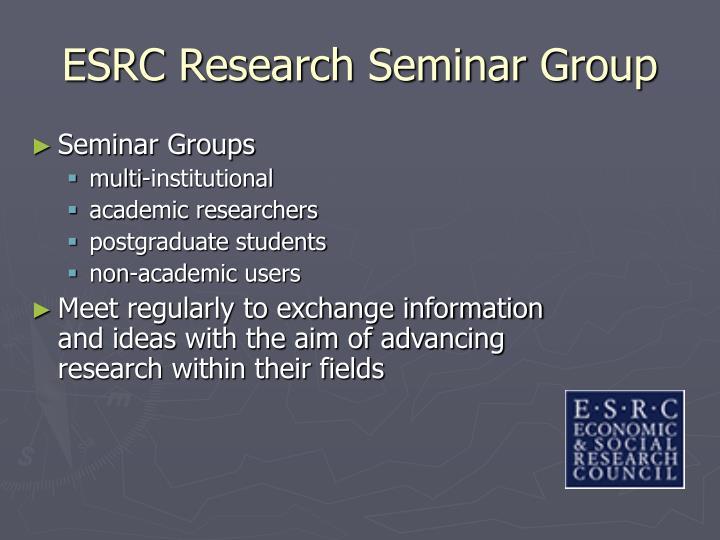 ESRC Research Seminar Group