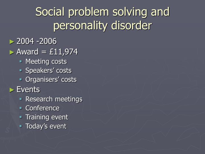 Social problem solving and personality disorder