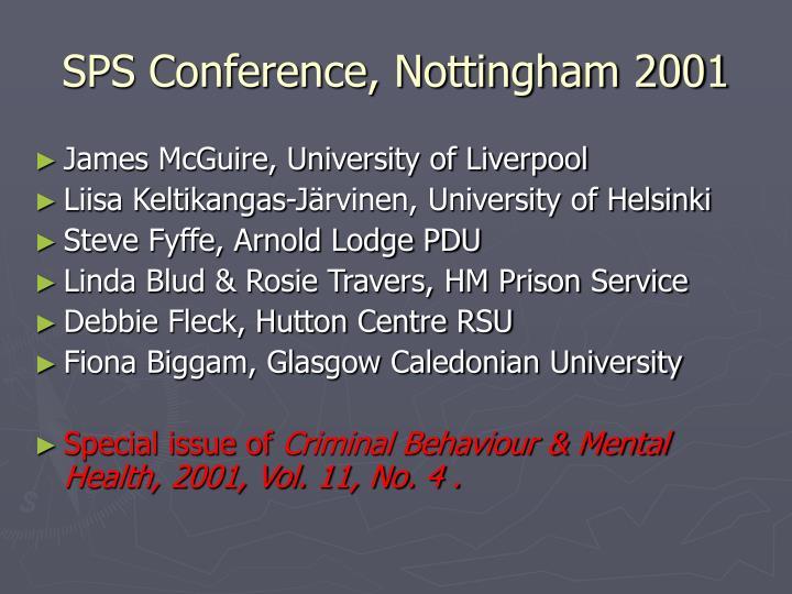 SPS Conference, Nottingham 2001