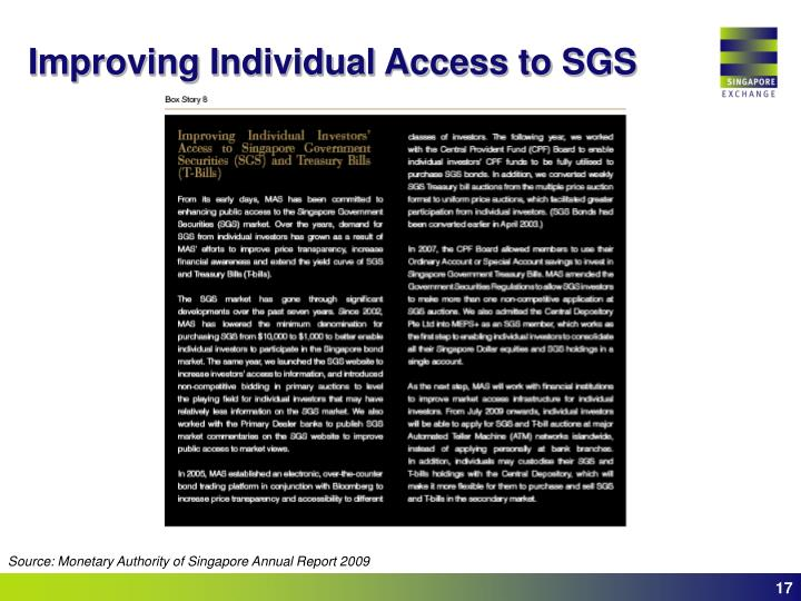 Improving Individual Access to SGS