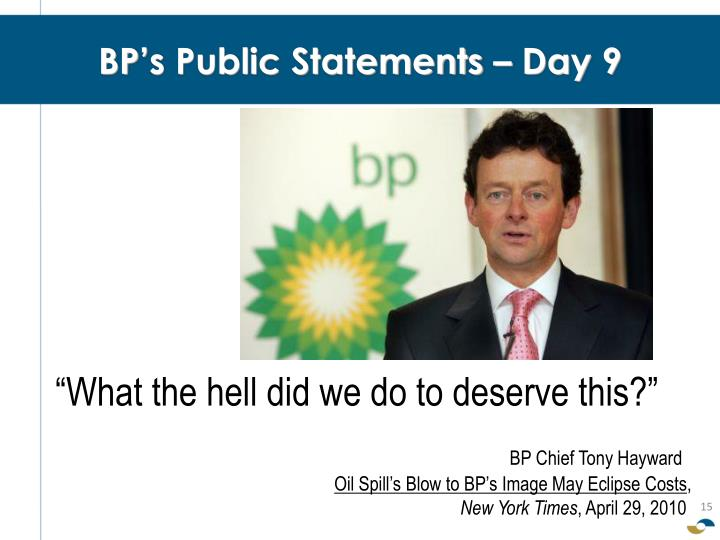 BP's Public Statements – Day 9