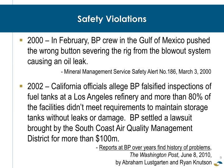 Safety Violations