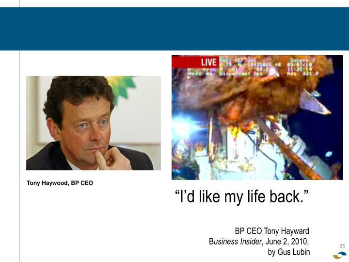 Tony Haywood, BP CEO