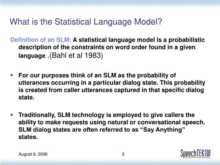 What is the statistical language model
