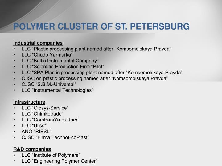 POLYMER CLUSTER OF ST. PETERSBURG