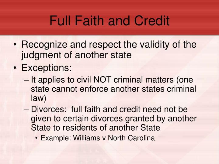 Full Faith and Credit