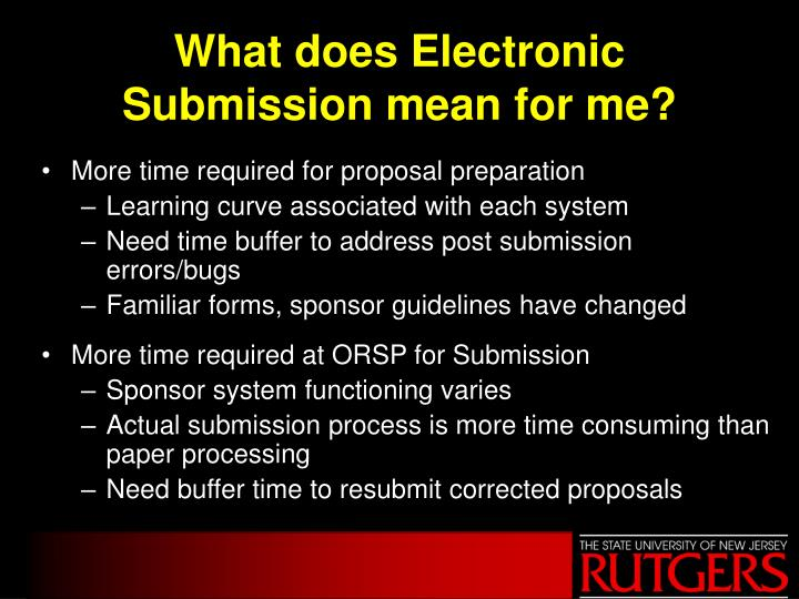 What does Electronic Submission mean for me?