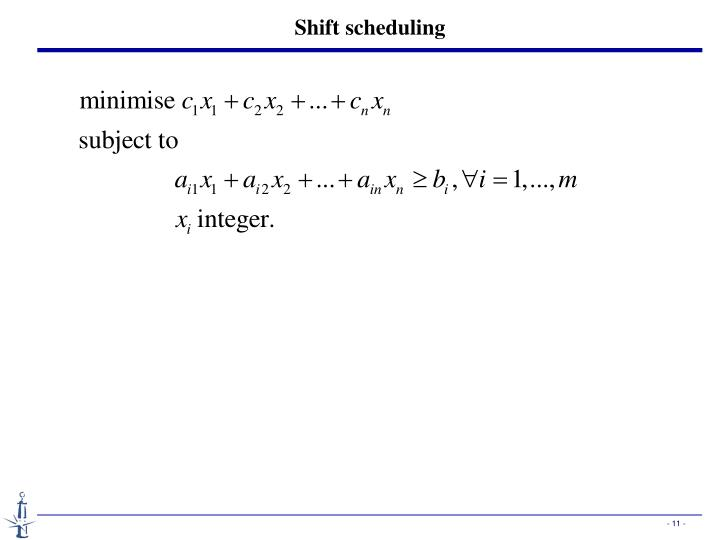Shift scheduling