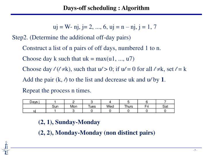 Days-off scheduling : Algorithm