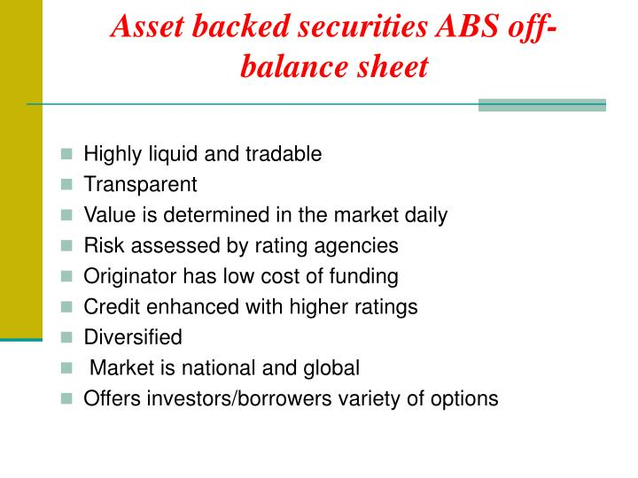 Asset backed securities ABS off-balance sheet