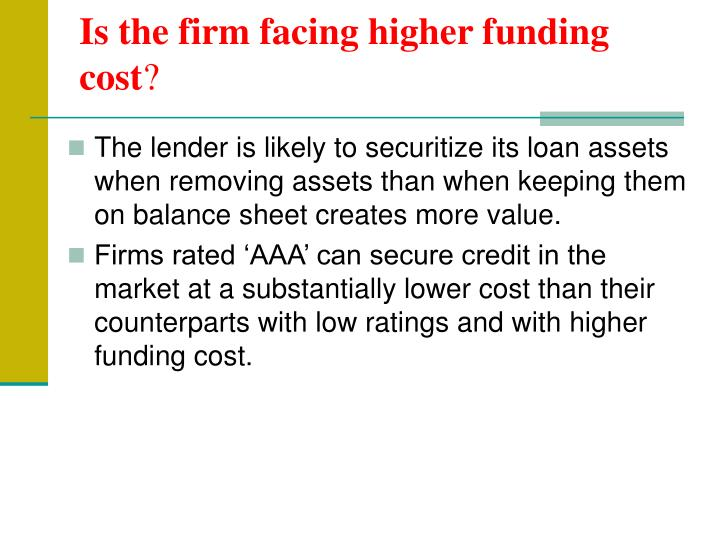 Is the firm facing higher funding cost