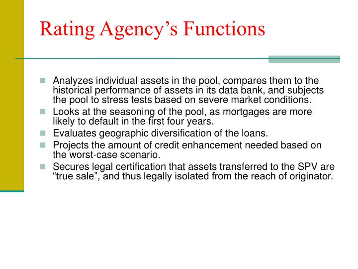Rating Agency's Functions