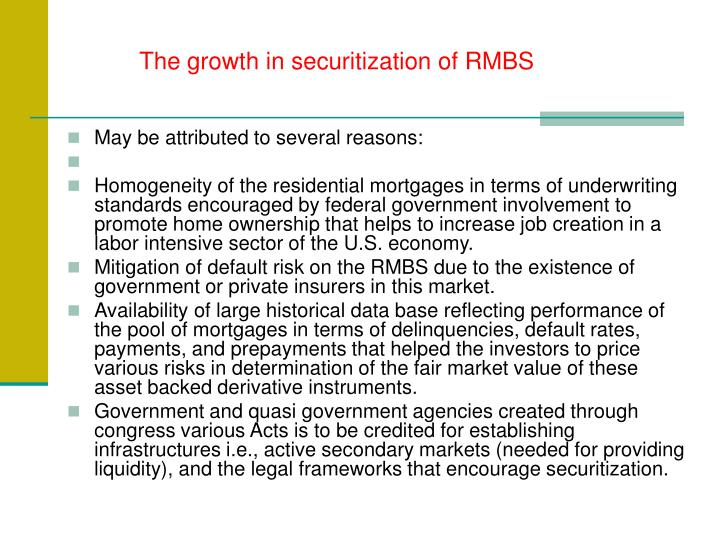 The growth in securitization of RMBS