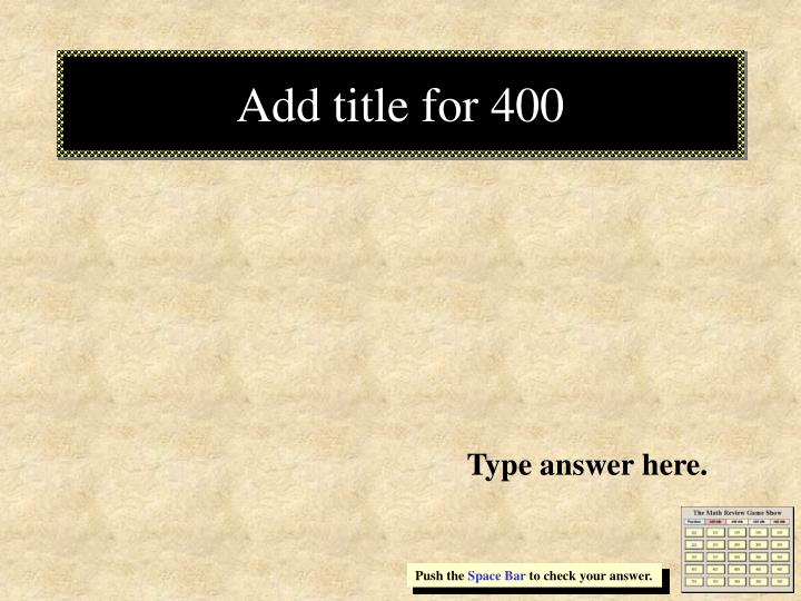 Add title for 400