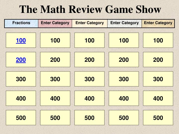 the math review game show