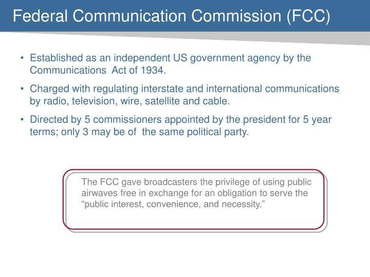 """The FCC gave broadcasters the privilege of using public airwaves free in exchange for an obligation to serve the """"public interest, convenience, and necessity."""""""