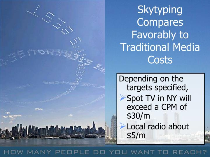 Skytyping Compares Favorably to Traditional Media Costs