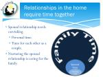 relationships in the home require time together