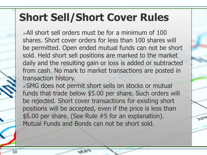 Short Sell/Short Cover Rules