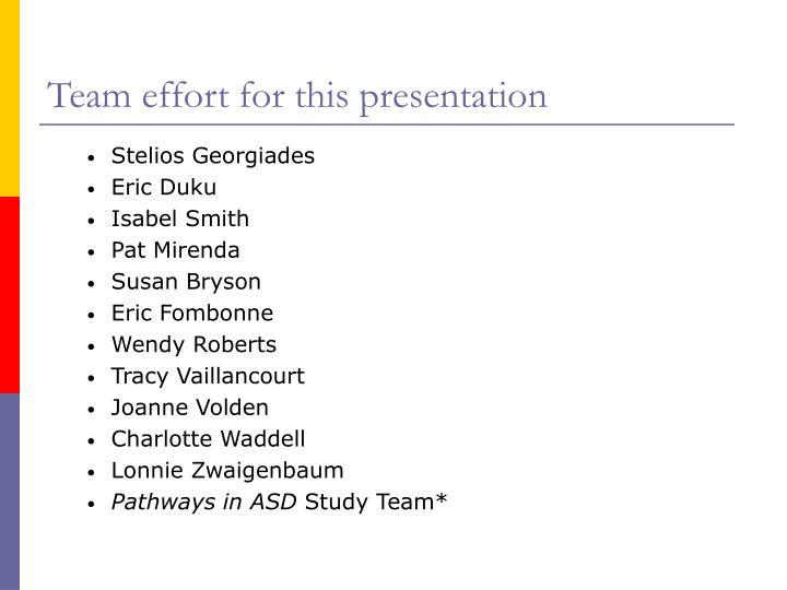 Team effort for this presentation