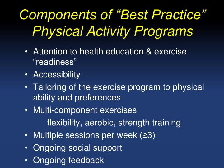 """Components of """"Best Practice"""" Physical Activity Programs"""
