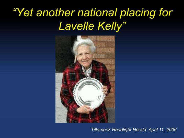 """""""Yet another national placing for Lavelle Kelly"""""""