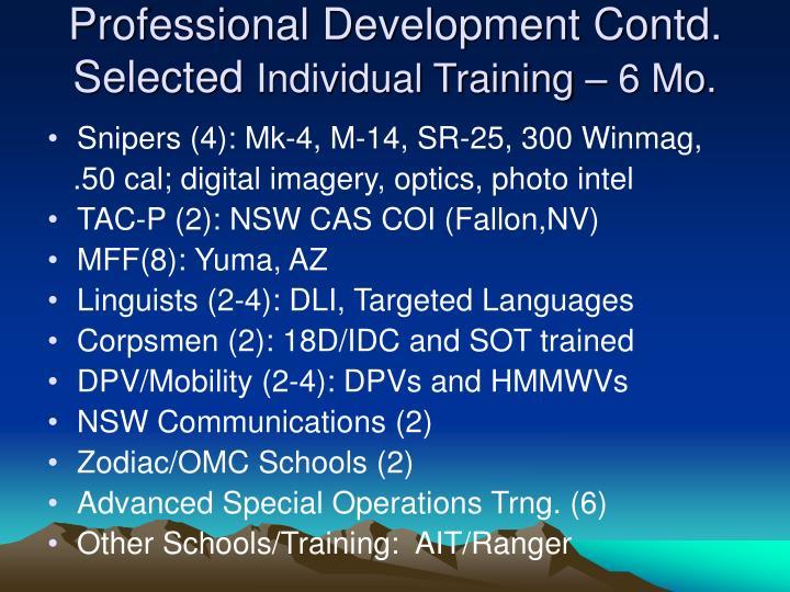 Professional Development Contd.