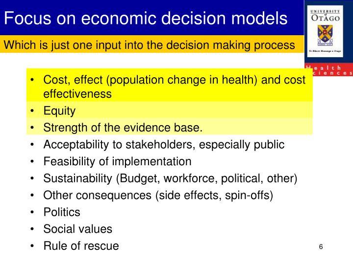 Focus on economic decision models