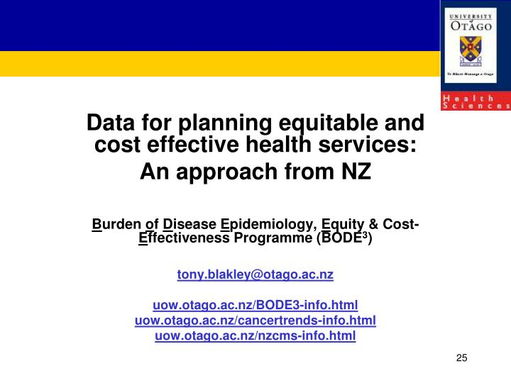 Data for planning equitable and cost effective health services: