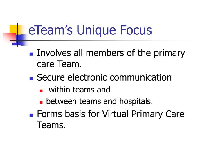 eTeam's Unique Focus