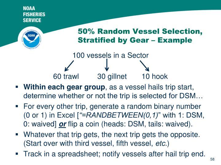 50% Random Vessel Selection, Stratified by Gear – Example