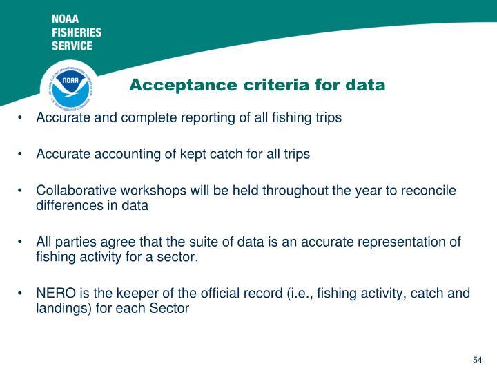 Acceptance criteria for data