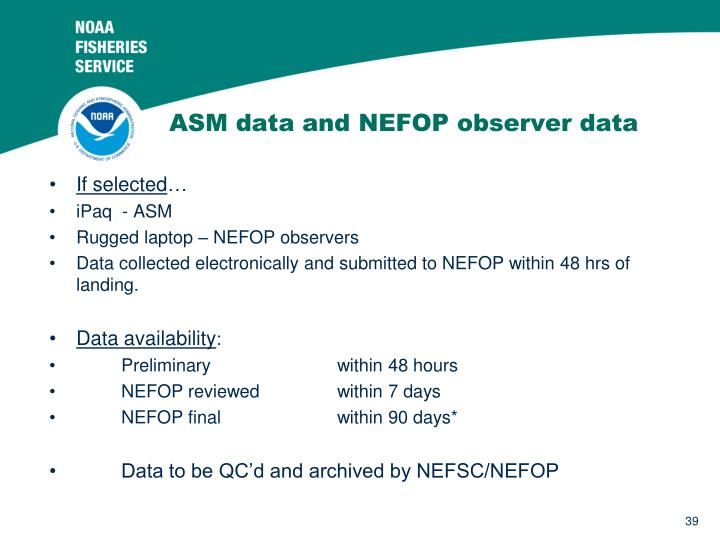 ASM data and NEFOP observer data