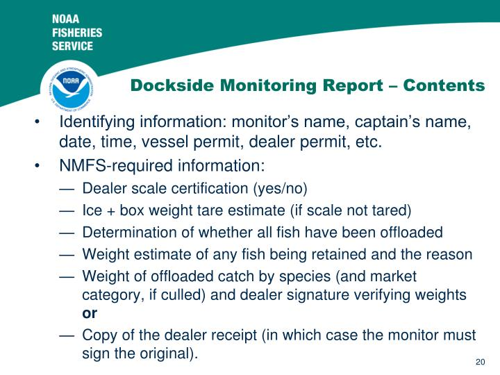 Dockside Monitoring Report – Contents
