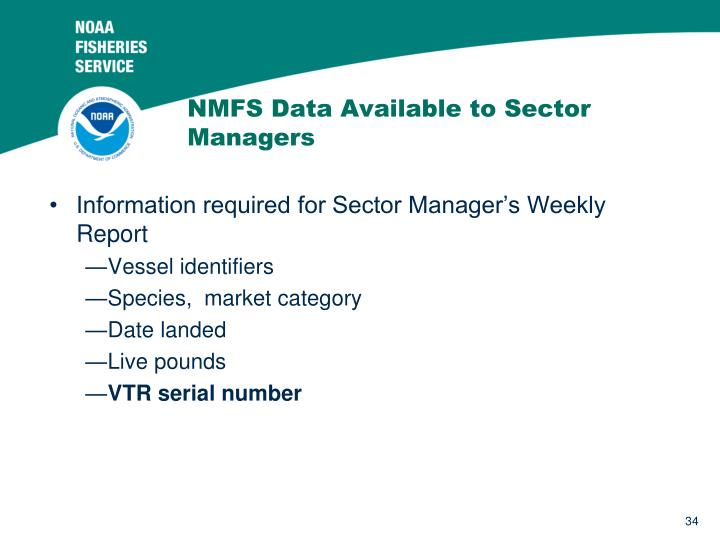 NMFS Data Available to Sector Managers
