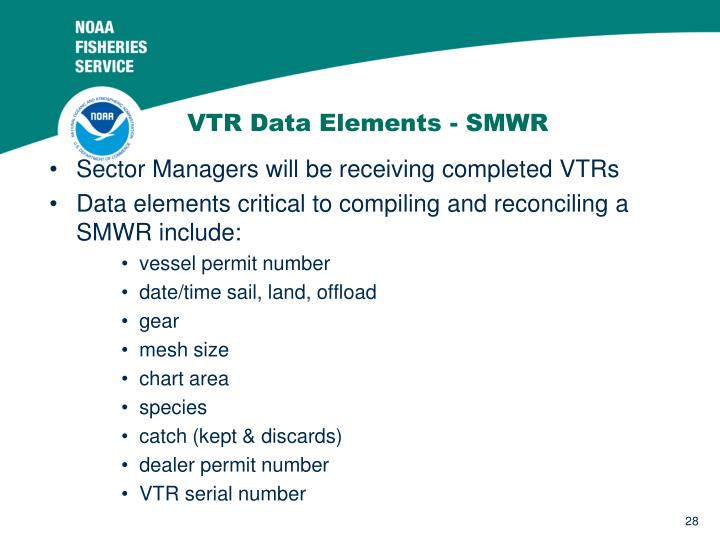 VTR Data Elements - SMWR