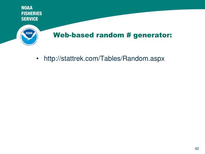Web-based random # generator: