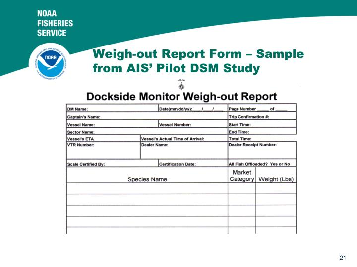 Weigh-out Report Form – Sample from AIS' Pilot DSM Study