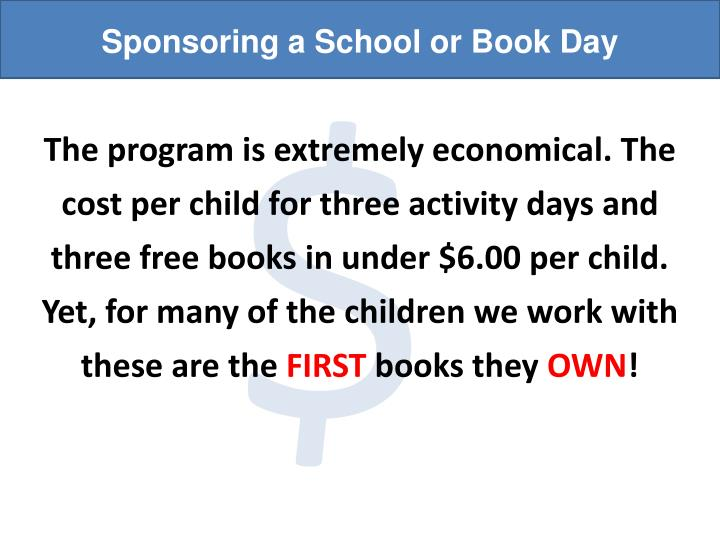 Sponsoring a School or Book Day