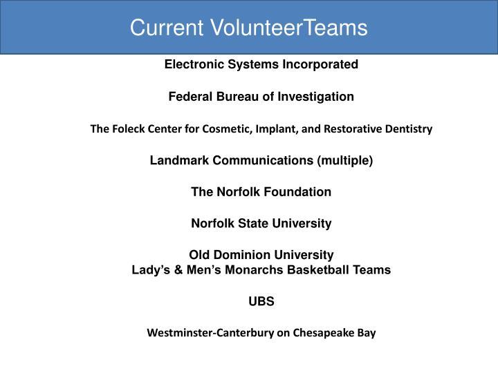 Current VolunteerTeams