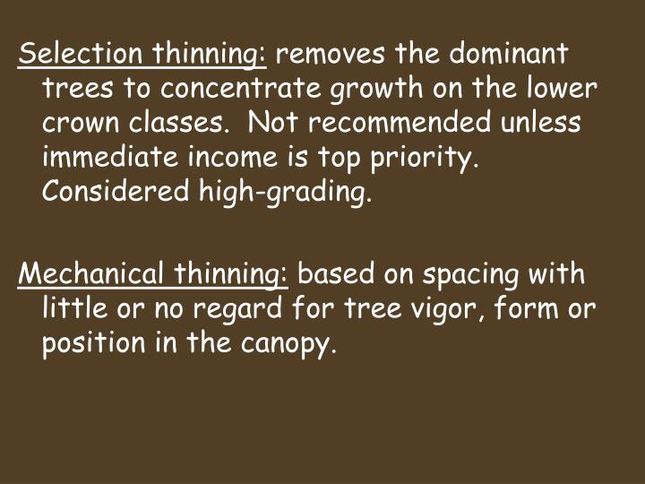 Selection thinning: