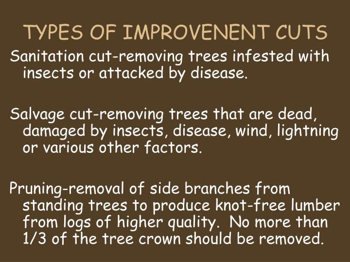TYPES OF IMPROVENENT CUTS