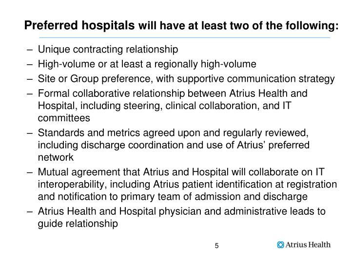 Preferred hospitals