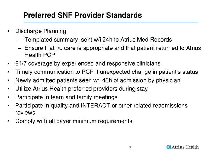Preferred SNF Provider Standards