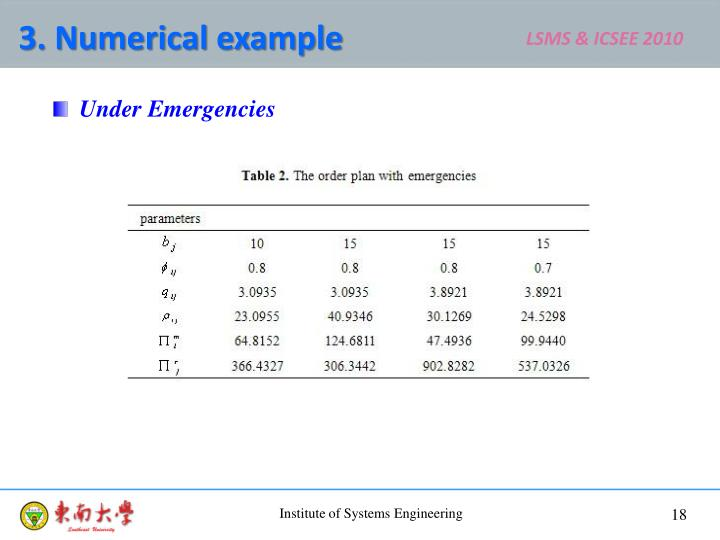 3. Numerical example