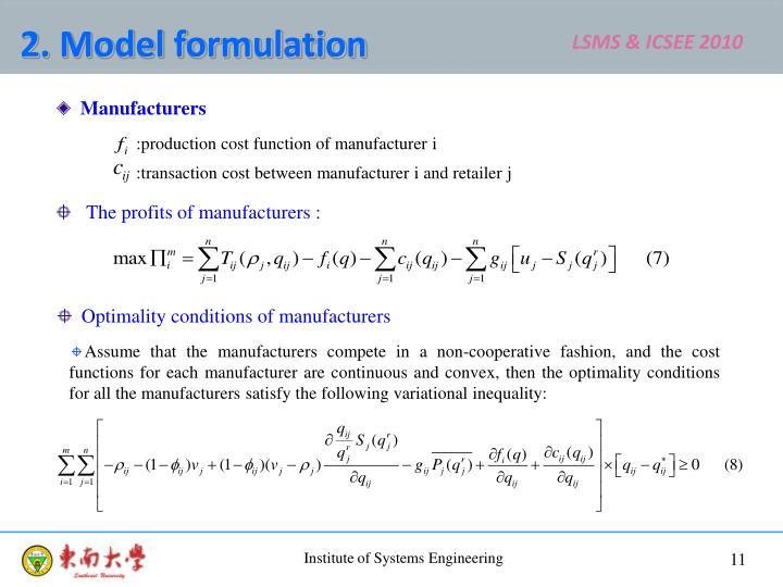 2. Model formulation