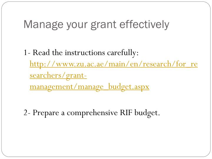 Manage your grant effectively